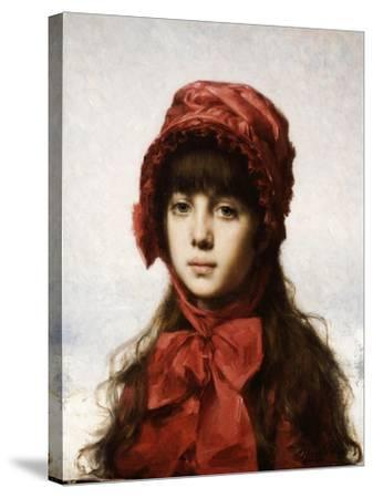 The Red Bonnet-Alexei Alexeivich Harlamoff-Stretched Canvas Print