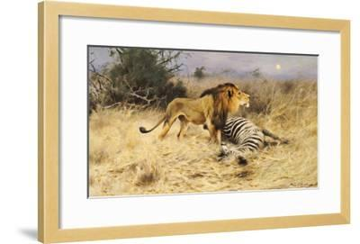 A Lion with His Prey-Wilhelm Kuhnert-Framed Giclee Print