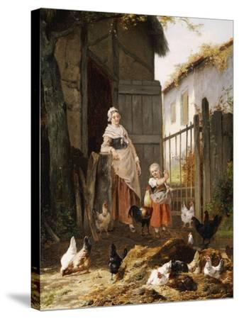 Feeding the Chickens-Eugene Remy Maes-Stretched Canvas Print