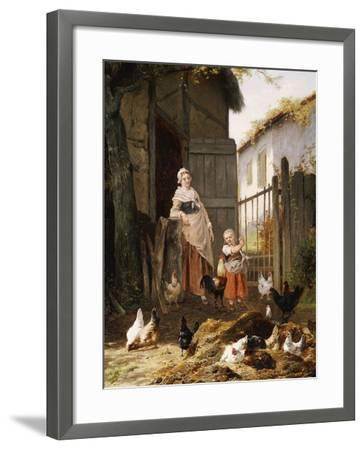 Feeding the Chickens-Eugene Remy Maes-Framed Giclee Print