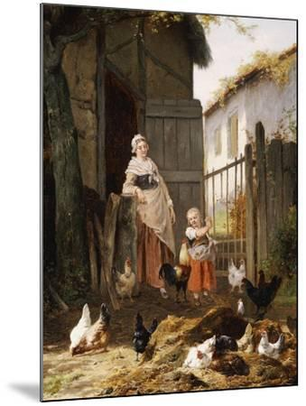 Feeding the Chickens-Eugene Remy Maes-Mounted Giclee Print