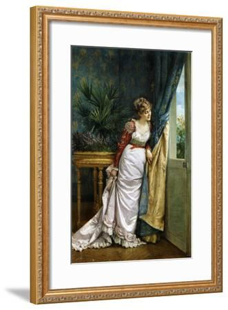 Awaiting the Visitor, 1878-Auguste Toulmouche-Framed Giclee Print