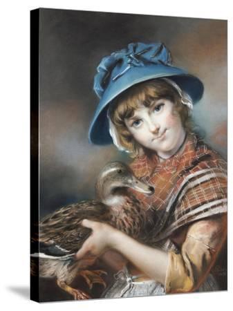 A Market Girl Holding a Mallard Duck, 1787-John Russell-Stretched Canvas Print
