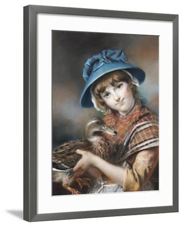 A Market Girl Holding a Mallard Duck, 1787-John Russell-Framed Giclee Print