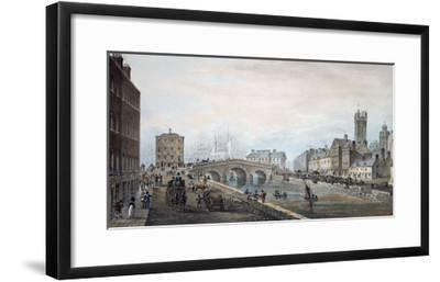 Matthew Bridge and the Customs House, with the Tower of St. Marys Cathedral, 1819-Samuel Frederick Brocas-Framed Giclee Print
