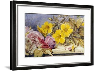 A Still Life of Roses and Other Flowers on a Ledge-Mary Elizabeth Duffield-Framed Giclee Print