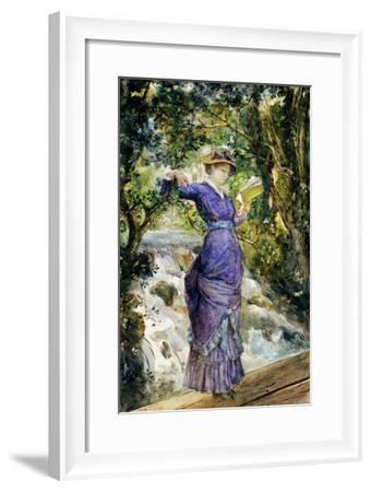 Girl Reading by a Waterfall, circa 1882-Maria Konstantinovna Bashkirtseva-Framed Giclee Print