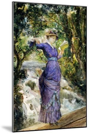 Girl Reading by a Waterfall, circa 1882-Maria Konstantinovna Bashkirtseva-Mounted Giclee Print