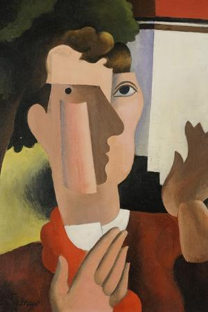 Man with a Red Scarf, 1922-Roger de La Fresnaye-Stretched Canvas Print