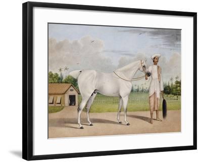 A Small White Stallion Standing with a Groom Holding a Chauri-Shaikh Muhammad Amir Of Karraya-Framed Giclee Print