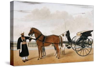A Nawab Standing by His Horse Drawn Gharry or Carriage Attended by His Groom Bearing a Chauri-Shaikh Muhammad Amir Of Karraya-Stretched Canvas Print