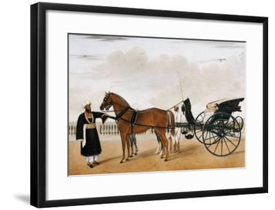 A Nawab Standing by His Horse Drawn Gharry or Carriage Attended by His Groom Bearing a Chauri-Shaikh Muhammad Amir Of Karraya-Framed Giclee Print
