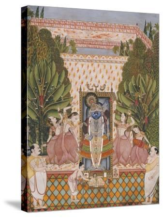 Worship of Shri Nathji, Probably Bundi or Kotah, circa 1825-50--Stretched Canvas Print