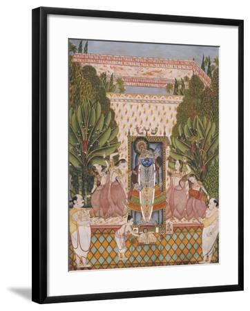 Worship of Shri Nathji, Probably Bundi or Kotah, circa 1825-50--Framed Giclee Print