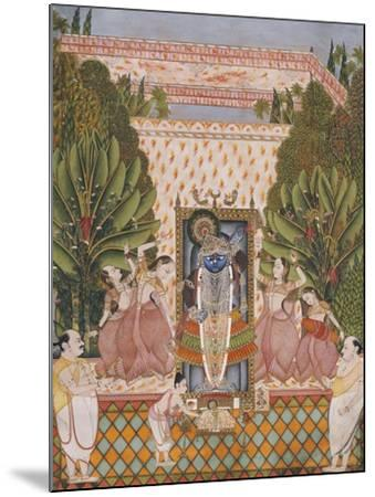 Worship of Shri Nathji, Probably Bundi or Kotah, circa 1825-50--Mounted Giclee Print