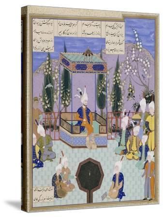 The Houghton Shahnameh: Folio 513v, an Aging Firdowsi Eulogizes Sultan Mahmud--Stretched Canvas Print
