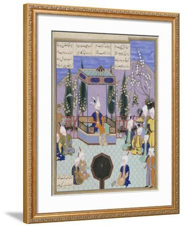 The Houghton Shahnameh: Folio 513v, an Aging Firdowsi Eulogizes Sultan Mahmud--Framed Giclee Print