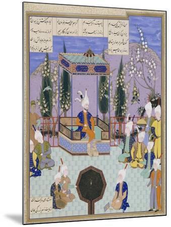 The Houghton Shahnameh: Folio 513v, an Aging Firdowsi Eulogizes Sultan Mahmud--Mounted Giclee Print