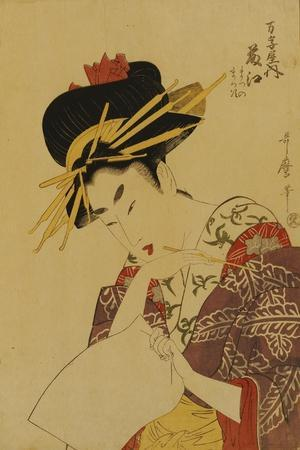 A Bust Portrait of the Courtesan Fujie from Manjiya-Kitagawa Utamaro-Stretched Canvas Print