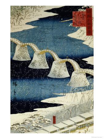 The Brocade Bridge in Snow-Ando Hiroshige-Framed Giclee Print