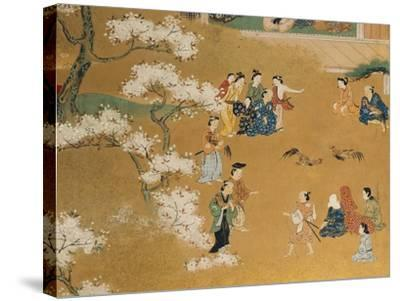 Cock Fight Beneath Cherry Tree Blossoms, 18th Century--Stretched Canvas Print