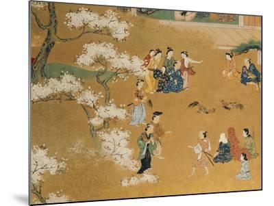 Cock Fight Beneath Cherry Tree Blossoms, 18th Century--Mounted Giclee Print