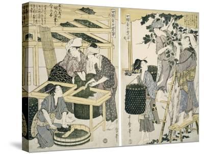 Silk-Worm Culture by Women-Kitagawa Utamaro-Stretched Canvas Print
