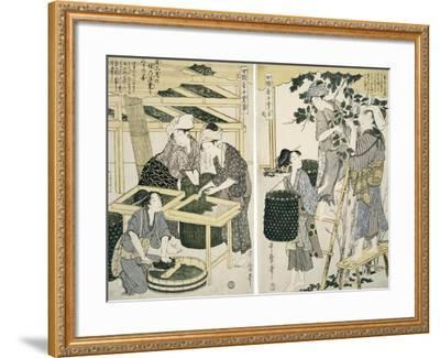 Silk-Worm Culture by Women-Kitagawa Utamaro-Framed Giclee Print