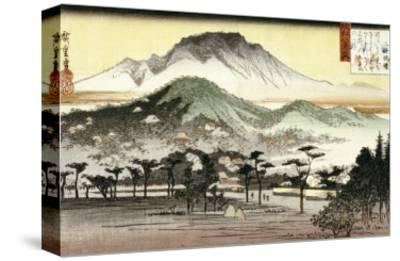Evening Bell at Mii Temple-Ando Hiroshige-Stretched Canvas Print