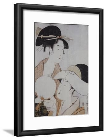 Bust Portrait of Two Women, One Holding a Fan, the Other with a Head Cover Holding a Tea Cup-Kitagawa Utamaro-Framed Giclee Print