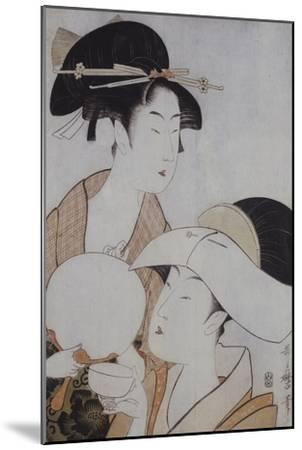 Bust Portrait of Two Women, One Holding a Fan, the Other with a Head Cover Holding a Tea Cup-Kitagawa Utamaro-Mounted Giclee Print