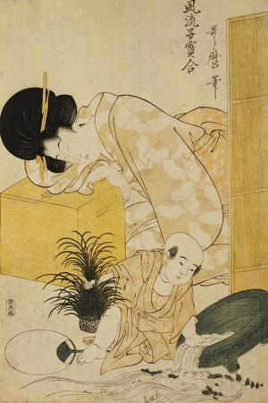 A Mother Dozing While Her Child Topples a Fish Bowl-Kitagawa Utamaro-Stretched Canvas Print