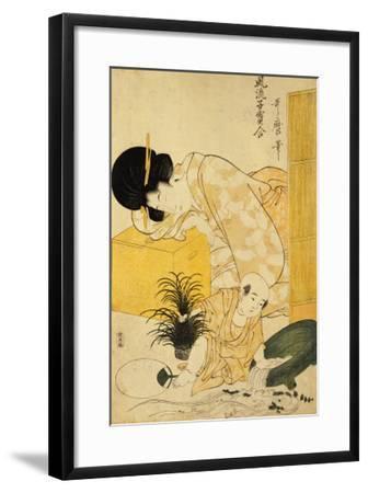A Mother Dozing While Her Child Topples a Fish Bowl-Kitagawa Utamaro-Framed Giclee Print