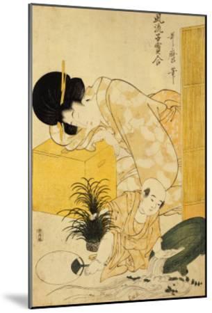 A Mother Dozing While Her Child Topples a Fish Bowl-Kitagawa Utamaro-Mounted Giclee Print