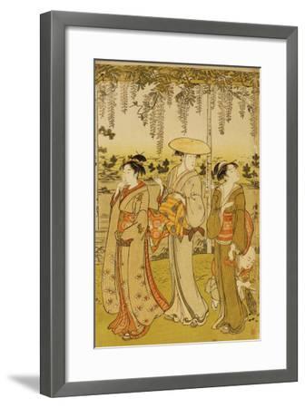 Three Women Viewing Wisteria at Kamedo-Torii Kiyonaga-Framed Giclee Print