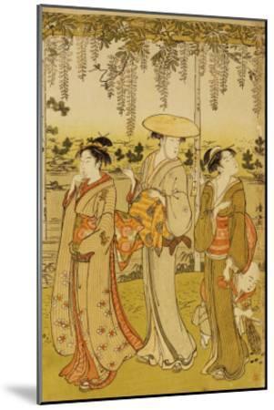 Three Women Viewing Wisteria at Kamedo-Torii Kiyonaga-Mounted Giclee Print