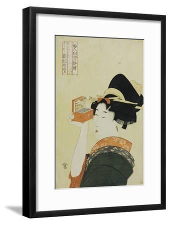 A Young Girl Looking Through a Nozoki Megane, Magic Lantern-Kitagawa Utamaro-Framed Giclee Print