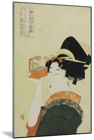 A Young Girl Looking Through a Nozoki Megane, Magic Lantern-Kitagawa Utamaro-Mounted Giclee Print
