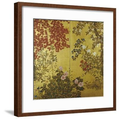 Camellias, Hydrangeas, Cherry Flowers, Lilies and Other Flowers, 18th Century--Framed Giclee Print
