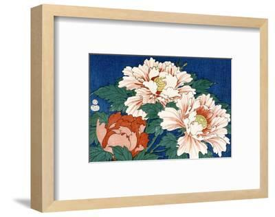 Three Stems of Peonies on a Blue Background, 1857-Ando Hiroshige-Framed Premium Giclee Print