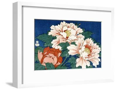 Three Stems of Peonies on a Blue Background, 1857-Ando Hiroshige-Framed Giclee Print