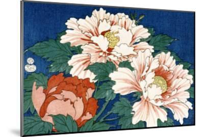 Three Stems of Peonies on a Blue Background, 1857-Ando Hiroshige-Mounted Giclee Print
