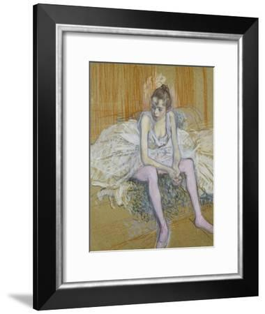 A Seated Dancer with Pink Stockings, 1890-Henri de Toulouse-Lautrec-Framed Giclee Print