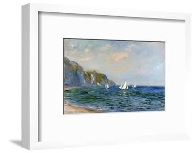 Cliffs and Sailboats at Pourville-Claude Monet-Framed Premium Giclee Print