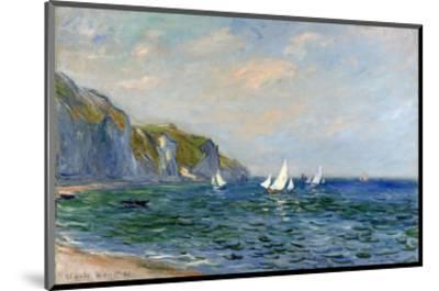 Cliffs and Sailboats at Pourville-Claude Monet-Mounted Premium Giclee Print