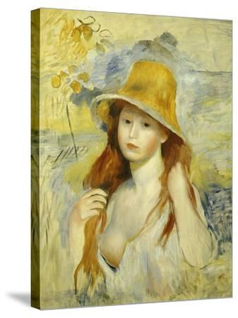 Young Girl with a Hat, 1884-Pierre-Auguste Renoir-Stretched Canvas Print