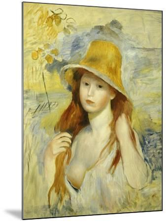 Young Girl with a Hat, 1884-Pierre-Auguste Renoir-Mounted Giclee Print