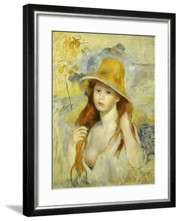 Young Girl with a Hat, 1884-Pierre-Auguste Renoir-Framed Giclee Print
