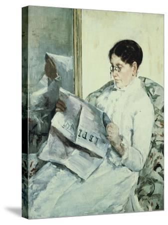 "Reading ""Le Figaro""-Mary Cassatt-Stretched Canvas Print"