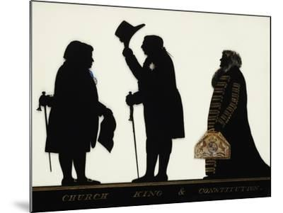 Church, King and Constitution, Silhouette on Glass-Charles Rosenberg-Mounted Giclee Print